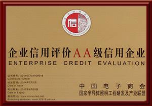 2014年企业信用评级双A级信用企业